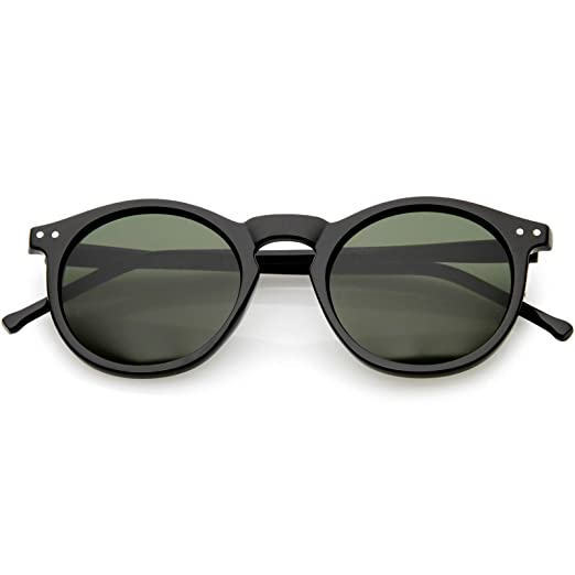 7f128c6497 zeroUV - Vintage Retro Horn Rimmed Round Circle Sunglasses with P3 Keyhole  Bridge (Black