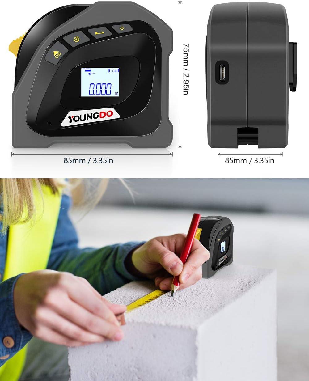 Pythagoras//Entfernung//Fl/äche//Volumen messen /±3mm YOUNGDO 40M Digitale Laser Entfernungsmesse mit 5m Massband Wiederaufladbar Lasermessger/äte Ein-Klick-/Änderung Ausgangspunkt der Messung M//Ft//In