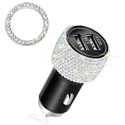 Otostar Quick Charge 3.0 Car Charger Bling Car Accessories Crystal Diamond Dual USB Car Charger Adapter for iPhones Android Phones (Silver): Home Audio & Theater [5Bkhe0108708]
