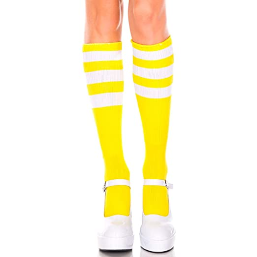 3f335d7b93a Image Unavailable. Image not available for. Color  Music Legs 5726-NEON  Yellow-WHI Acrylic Knee High Socks ...