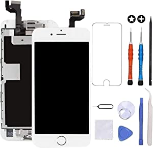 GULEEK for iPhone 6s Plus Screen Replacement White Touch Display LCD Digitizer Full Assembly with Front Camera,Proximity Sensor,Ear Speaker and Home Button Including Repair Tool and Screen Protector