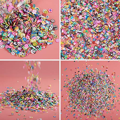 - 10000 Pcs Mixed Slime Charms Slices, CLDHOUSE Slices DIY Nail Art Craft Slime Supplies, Fruit Flower Star Cake Charms Kit