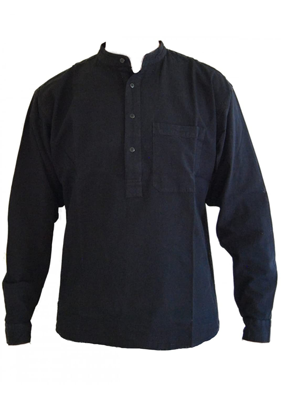 Black Grandad Collarless Shirt Cotton Sizes Small to 2XL: Amazon ...