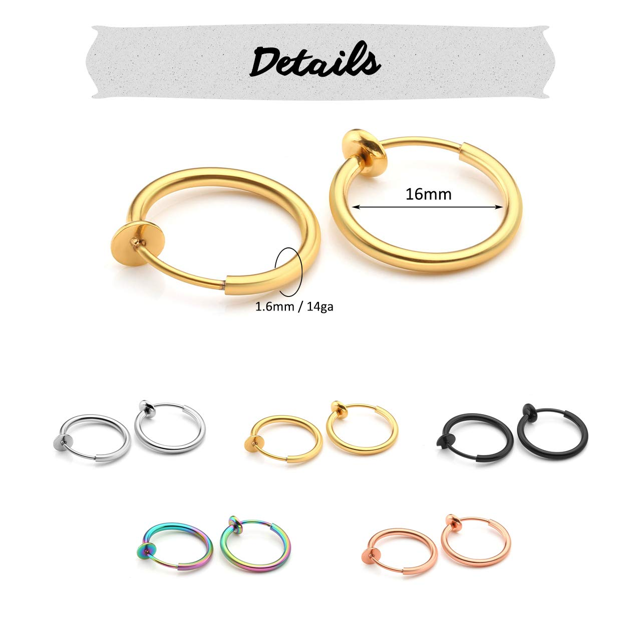 Clip On Earrings Fake Septum Cartilage Earrings Lip Ring Non Piercing Hoop Faux Body Piercing Jewelry 10-16mm PiercingJ 10pcs Mixed Color Stainless Steel 14G Fake Nose Ring Spring Hoop