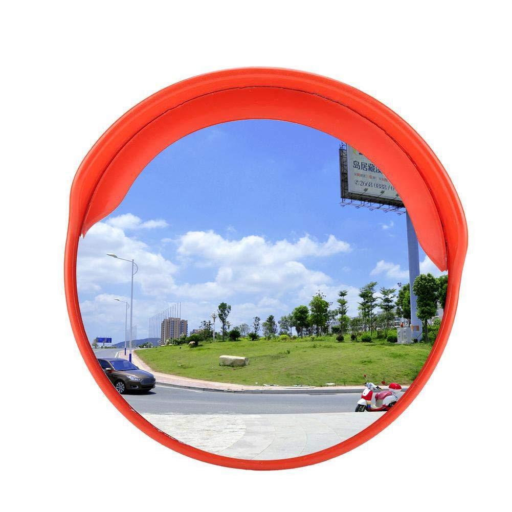 /Ángulo Visual 130/° Espejo de Tr/áfico Convexo de Seguridad Vial de Gran Angular Espejo de Tr/áfico Redondo con Gorro para Lluvia para Se/ñalizaci/ón Seguridad Di/ámetro de Vigilancia de 30cm