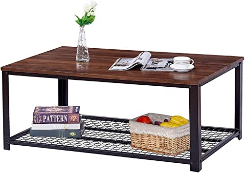 Vintage Industrial Coffee Table, Cocktail Table with Storage Shelf for Living Room, Easy Assembly, Dark Walnut Wood Look Furniture with Stable Metal Frame, Easy Assembly End Table, Brown