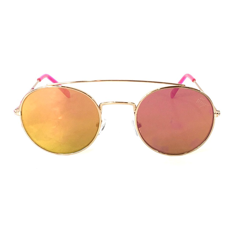 e3d1d39b52ad7 Amazon.com  Betsey Johnson Women s Flash Mirrored Flat Round Aviator  Sunglasses