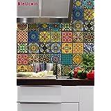 "Bleucoin Mexican Talavera Tile Sticker For Kitchen and Bathroom Backsplash Tile, Stair Riser Peel & Stick Tile Decal, 22 Designs (4"" x 4"" (Pack of 44))"