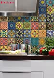 Bleucoin Mexican Talavera Tile Sticker For Kitchen and Bathroom Backsplash Tiles, Stair Riser Peel & Stick Vinyl Decal, 22 Designs, Pack of 44, Size: 6