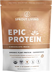 Epic Protein, Organic Plant Protein + Superfoods, Chocolate Maca | 19 Grams Vegan Protein, Gluten Free, No Gums, No Flavoring (1 Pound, 13 Servings)