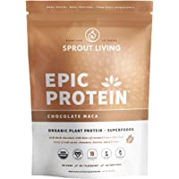 Sprout Living Epic Protein Powder, Chocolate Maca Flavor, Organic Plant Protein, Gluten Free, No Additives, 19 Grams…