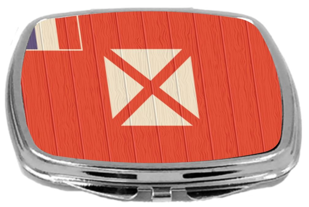 Rikki Knight Compact Mirror on Distressed Wood Design, Wallis and Futuna Flag, 3 Ounce