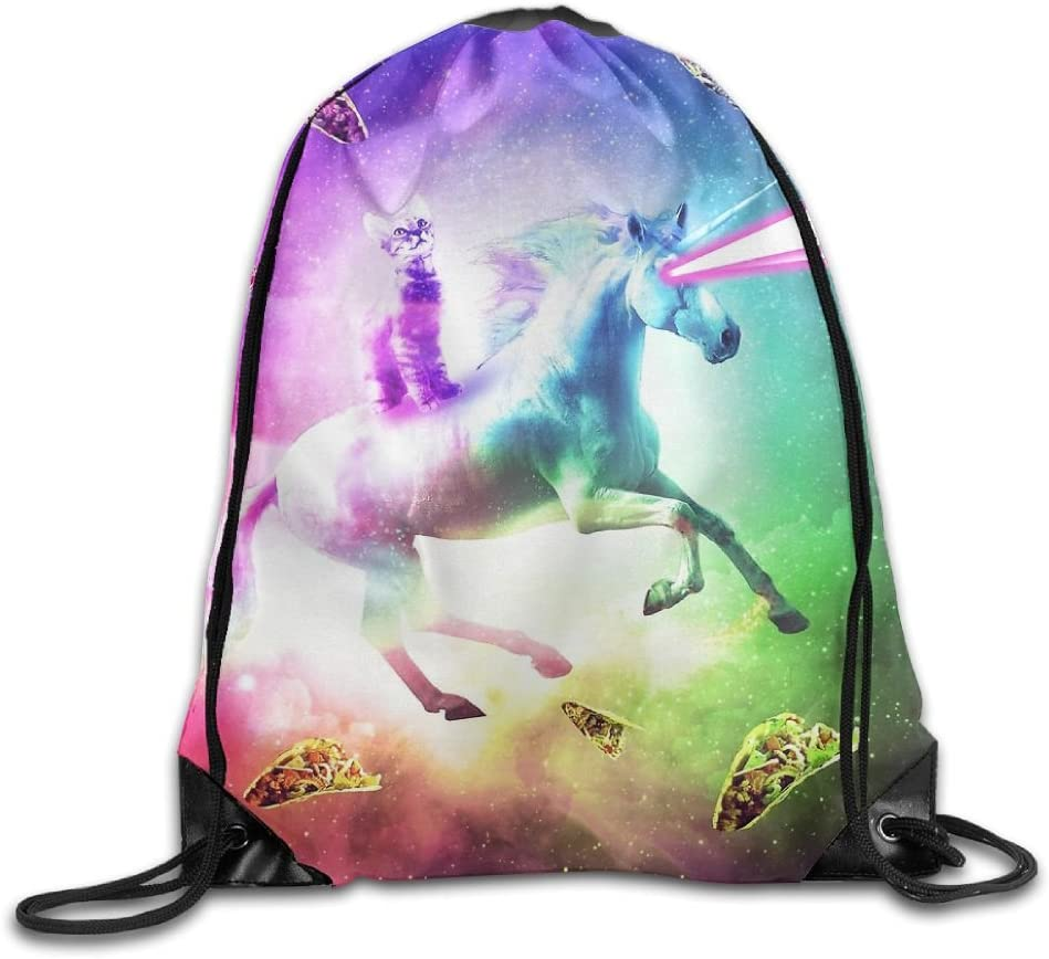 VIMUCIS Cat Riding Unicorn Drawstring Backpack Rucksack Shoulder Bags Training Gym Sack For Man And Women