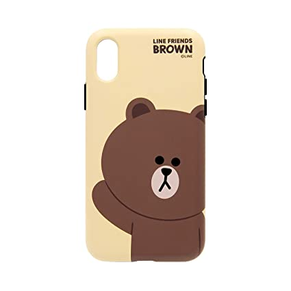 best website ea00a f2fbe Amazon.com: Line Friends iPhone XS Max Case Dual Guard Basic Brown ...