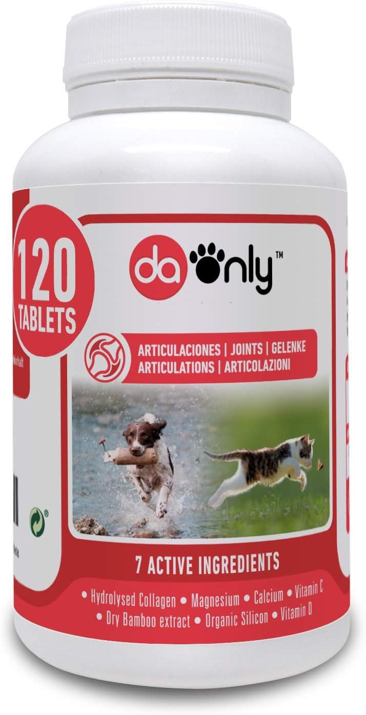 DAONLY colágeno Natural antiinflamatorio para Perros |120 Comprimidos| Pastillas Naturales | Alternativa a medicamentos y condroprotectores para Gatos (120 Tabletas)
