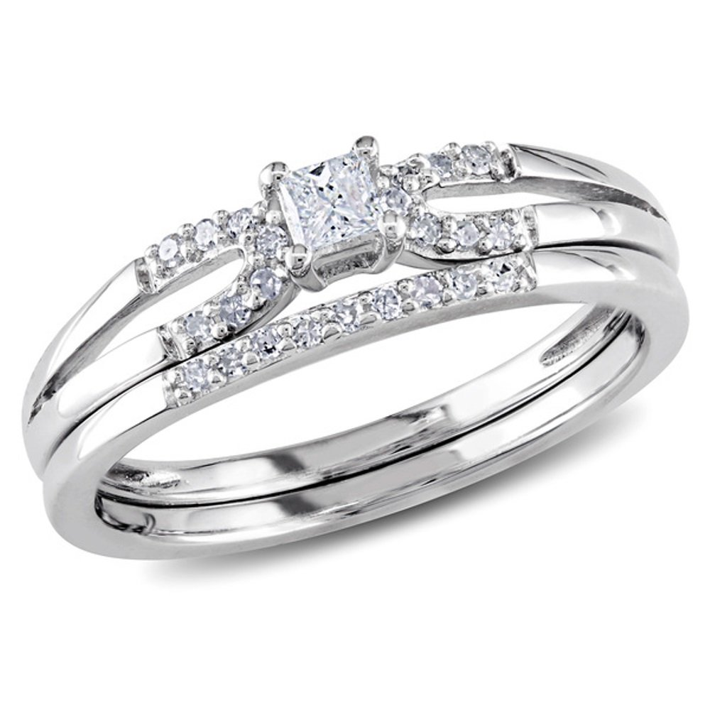 Pretty Jewellery 14K White Goild Over 925 Sterling Silver D/VVS1 Diamond Split Shank Bridal Ring Set OR32410