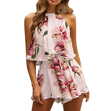 33967df4b295 Anglewolf Womens Holiday Mini Playsuits Ladies Jumpsuit Summer Beach Dress  Ladies Sexy Sleeveless Tassels Floral Jumpsuits