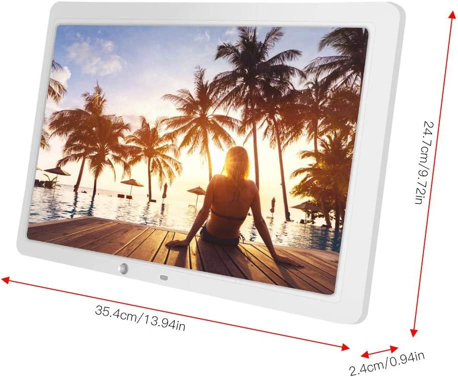 15.4 HD Multi-Function Motion Detection Photo Frame with Remote Controller EU-White Wandisy Digital Photo Frame