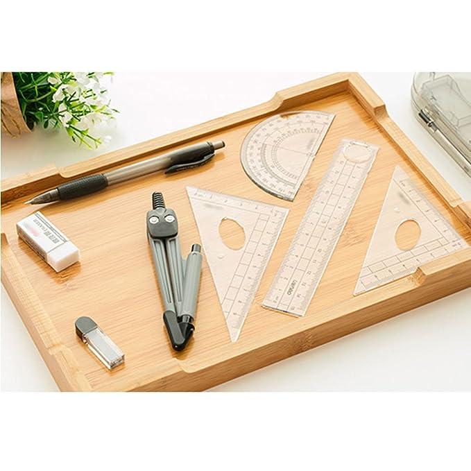 LA HAUTE Drawing Ruler Set 8Pcs Compass Protractors Square Set Math Geometry Set Kids Stationery Gifts
