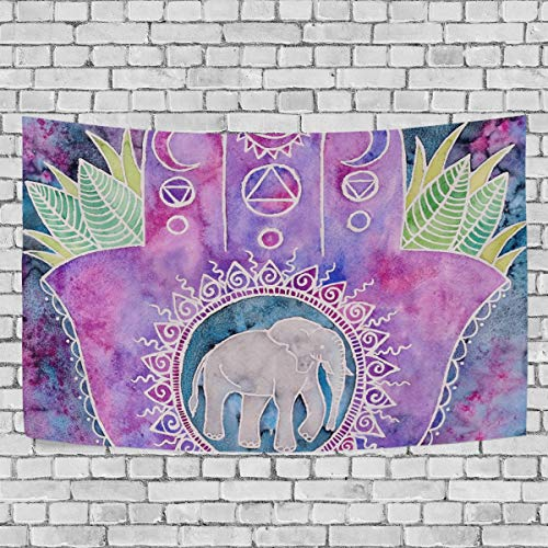 THENAHOME Tapestry with Creative Hand Print Elephant Home Décor for Bedspread,Wall Decor,Bed Cover,Room Divider,Table Cloth,Picnic Blanket and Beach -