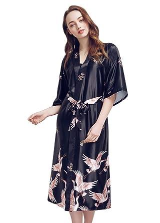f9720da305fc3 SexyTown Women 's Long Kimono Robe Print Sleepwear Holidays Exclusive  Bathrobe and Loungewear X-