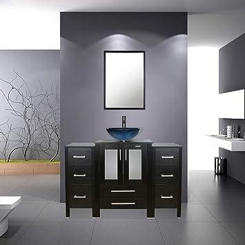 Amazon Com Bathroom Vanity 48 Inch Vanity Top With Sink Tempered