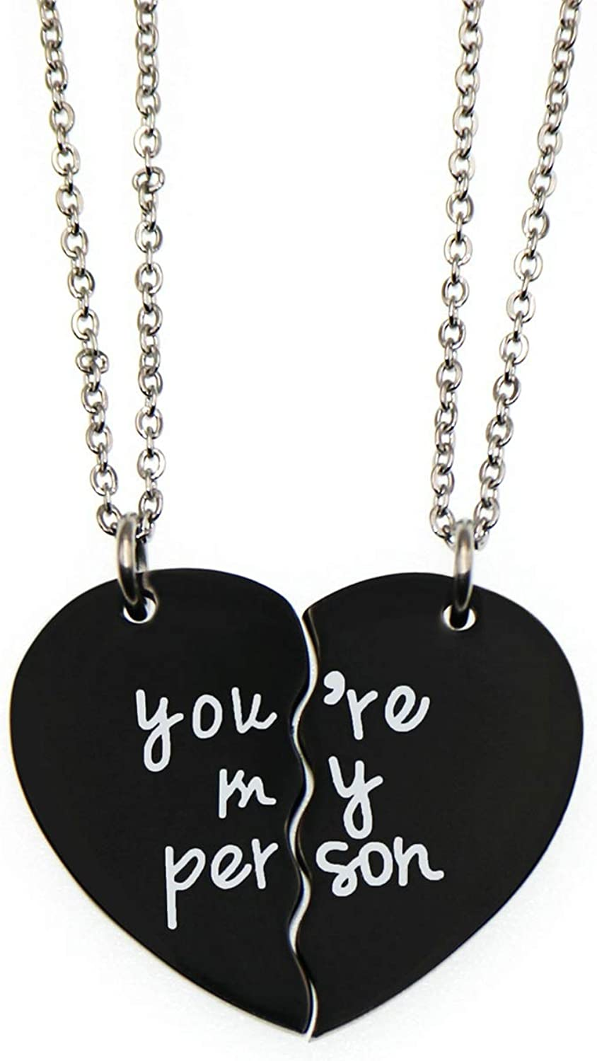 Choice of Metal You/'re My Person Heart Necklace Gift for Wife Girlfriend Best Friend Love Pendant Jewelry