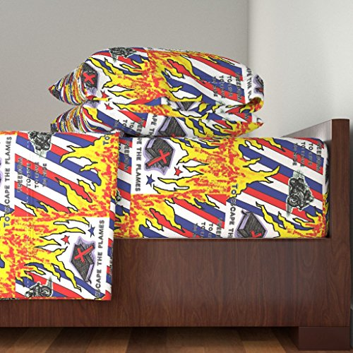Roostery Flames Motorcycles Christian 4pc Sheet Set Freedom by Charldia King Sheet Set made with by Roostery