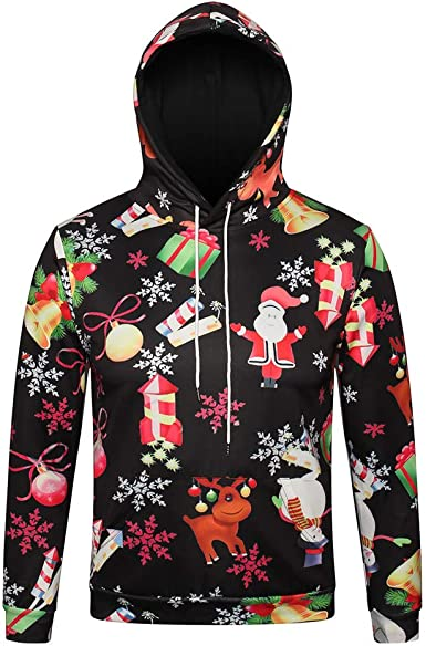Christmas Pullover Hooded Sweatshirts for Boys Mens Funny