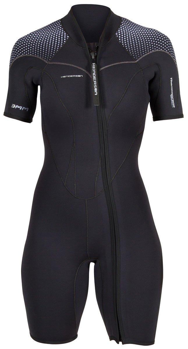 Henderson Women's 3mm Thermoprene Pro Front Zip Shorty Wetsuit, Black/Purple, 24 by Henderson