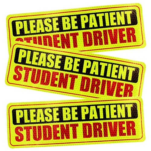 TSINGYUN Set of 3 Student Driver Safety Sign Bumper Sticker Highly Reflective for New Drivers & the Novice (10 inches, Not Magnet) (Novice Driver Sticker)