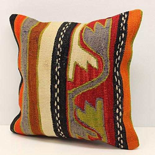 Rustic kilim pillow cover 14x14 Feet ( 35x35 cm) Anatolian Kelim pillow cover Turkish Kilim Pillow Home Design Kilim Cushion Art deco pillow cover interior design (Anatolian Striped Kilim Rug Cushion)