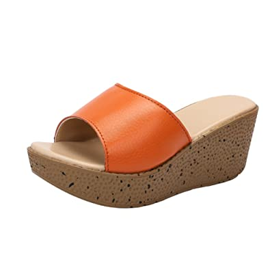 7f7a0647fa8 fereshte Women s Synthetic Leather Peep Toe Chic Flower Platform Slide  Sandals for Beach Holiday Brown US