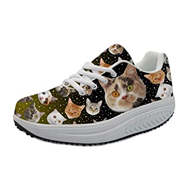 e16758e450 HUGS IDEA Galaxy Kitten Cute Women s Wedges Platform Fitness Sneakers  Animal Casual Toning Walking Shoes