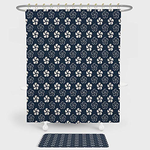 iPrint Geometric Shower Curtain And Floor Mat Combination Set Monochrome Floral Arrangement Pinwheel Inspired Design Abstract Natural For decoration and daily use Dark Blue Cream