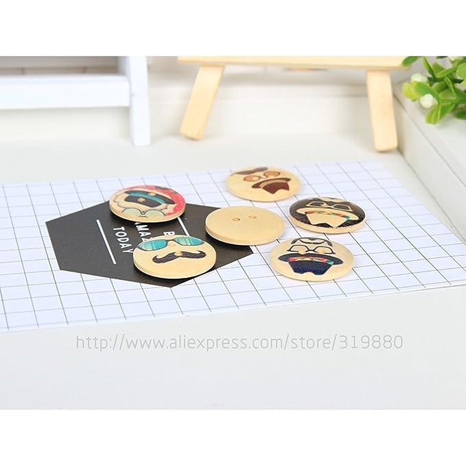 HDTTCX - Botones de madera para manualidades - Botones de madera para coser - 50 unidades de 25 mm 2 agujeros Botón de barba de dibujos animados DIY botones ...
