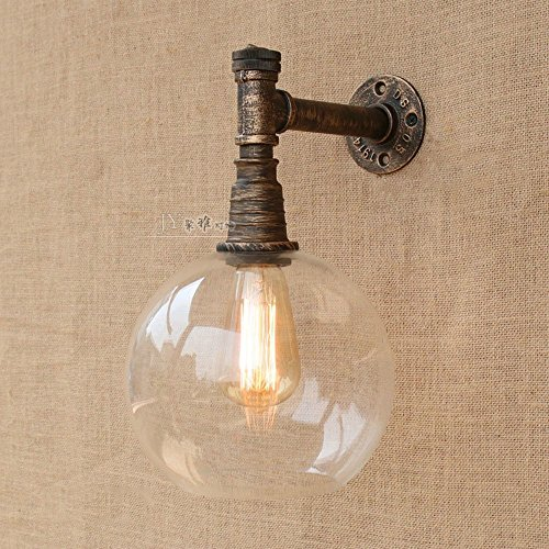 CGJDZMD Wall Sconce Vintage Industrial Wall Lamp Wrought Iron Water Pipes Wall Lights 1 Light E27 Socket Club Decoration with Transparent Glass Lampshade