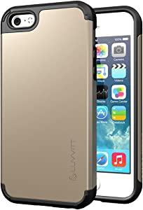 iPhone SE Case 2016, LUVVITT [Ultra Armor] Shock Absorbing Case Best Heavy Duty Dual Layer Tough Cover for Apple iPhone SE Special Edition (2016 Only. NOT Compatible with 2020) - Gold