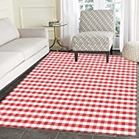 Checkered Customize Floor mats for home Mat Horizontally Striped Design Gingham Inspired Old Fashioned Traditional Print Oriental Floor and Carpets 3x5 Coral White
