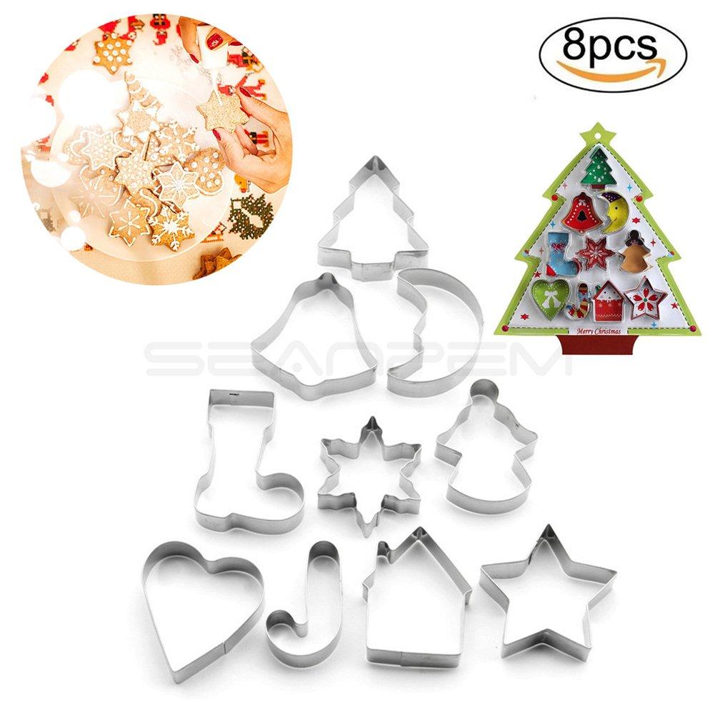 3d DIY Navidad estéreo Cookies Cake Moldes Galletas de acero inoxidable moldes árbol de Navidad muñeco de nieve ciervos trineo tiempo de la diversión para ...