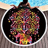 Sleepwish Thick Round Beach Towel Terry, Elephant Beach Blanket, Beach Roundie Circle Yoga Mat with Fringe, Bohemian Elephant Beach Tapestry (Black Exotic, 60'')