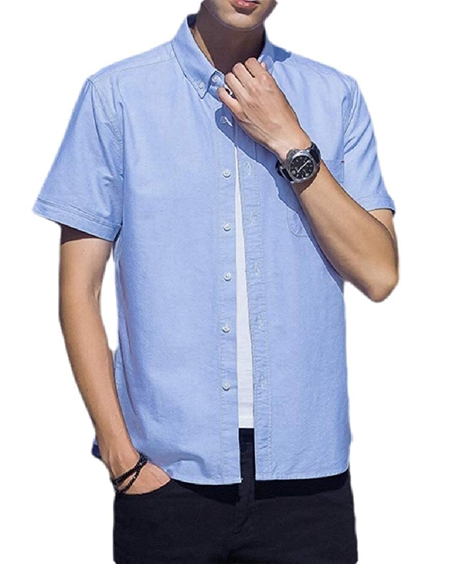 Lutratocro Mens Short Sleeve Solid Pocket Casual Button Down Shirts