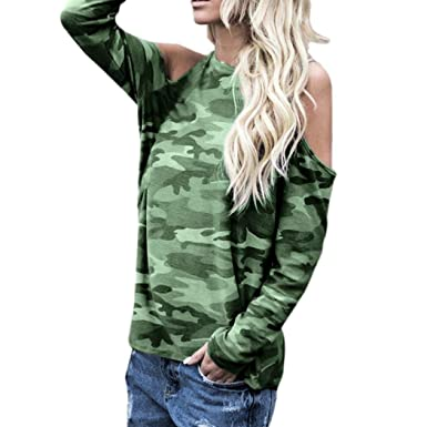 b0329a8a3261e Image Unavailable. Image not available for. Color: Sunhusing Women  Off-Shoulder Camouflage Long-Sleeve Shirt ...