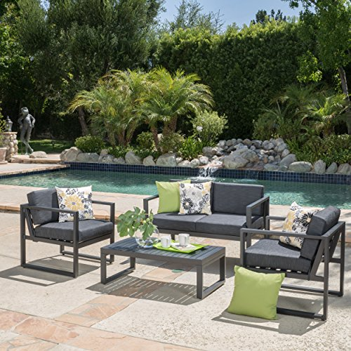 Nealie Patio Furniture ~ 4 Piece Outdoor Aluminum Chat Set (Dark Grey)