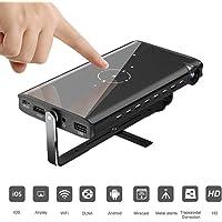 TOPQSC P2 Mini Pico Video Projector Pocket portatile con funzione di correzione automatica della distorsione trapezoidale e treppiede libero, Proiettore DLP per iPhone, Android, laptop, Cinema Home Theater HD Supporto per proiettore mobile 1080P HDMI WiFi Scheda TF USB wireless (nero)