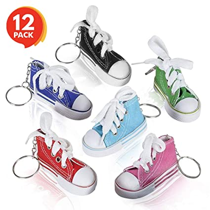 4a7065496f130 ArtCreativity Mini Canvas Sneaker Keychains for Kids and Adults - Set of 12  - 3 Inch Tennis Shoe Key Chains - Cool Birthday Party Favors, Goody Bag ...