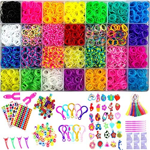 KAILEE 4400pcs Loom Bands Rainbow Rubber Bands Friendship Bracelet Making Kit with Web Frames and Hooks DIY Crafting Bracelet Weaving for Kids Handmade Beads Rubber Hair Band Birthday Gifts