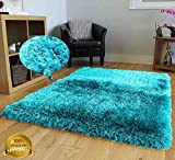 Cheap 8×10 Shag Shaggy Fuzzy Fluffy Furry Modern Contemporary Solid Thick Plush Soft Pile Living Room Bedroom Area Rug Carpet Light Blue Dark Blue Aqua Blue Turquoise Two Tone Color ( Romance Turquoise )