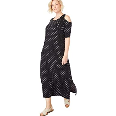 8cc12c33359 Woman Within Plus Size Cold-Shoulder A-Line Maxi Dress at Amazon ...