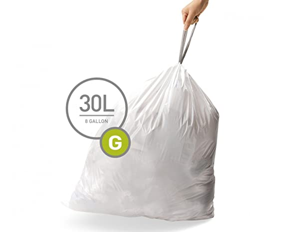 simplehuman Code G Custom Fit Drawstring Trash Bags, 30 Liter / 8 Gallon, 3 Refill Packs (60 Count)